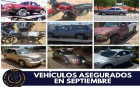 En septiembre recupera PGJE 34 vehículos robados